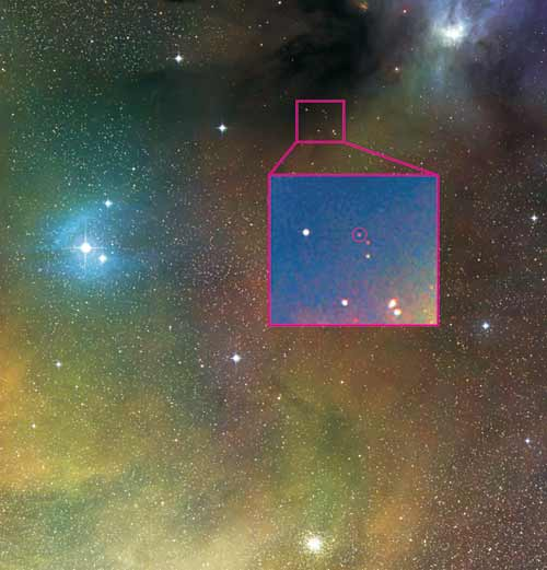 Astronomers clinched the case for jet by studying the brown dwarf circled in this image of Rho Ophiuchi