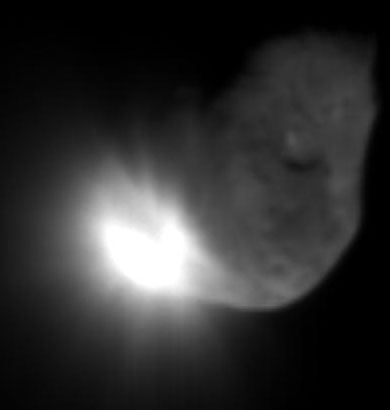 The observer craft of the Deep Impact mission took this image of the ejecta 16 seconds after impact