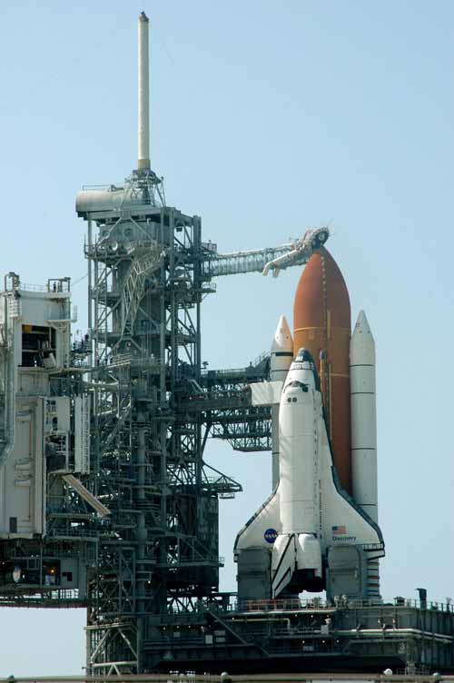 Discovery was revealed in full launch configuration on Monday after the Rotating Service Structure was rotated back