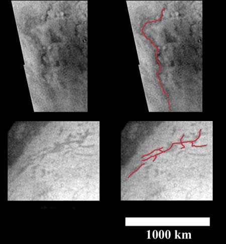 Dark, sinuous features on Titan may have been carved by liquid hydrocarbon rivers – traced in red on right