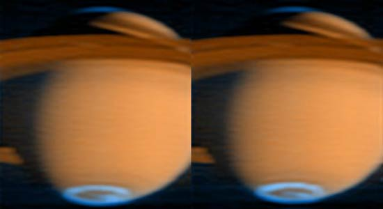 Images taken an hour apart show subtle variations in the auroras at Saturn's poles (blue). The brightest spot in the left aurora fades, and the middle of the aurora in the second image brightens