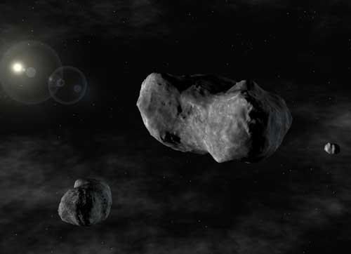 Asteroid 87 Sylvia is 280 kilometres wide and lies about 3.5 times further from the Sun than the Earth does (Artist's impression: European Southern Observatory)