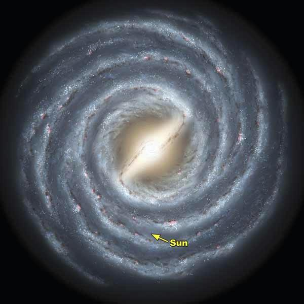 The massive new survey of stars reveals a definitive bar feature at the centre of the Milky Way, some 27,000 light years in length (Artist's impression: NASA/JPL-Caltech/R Hurt, SSC/Caltech)