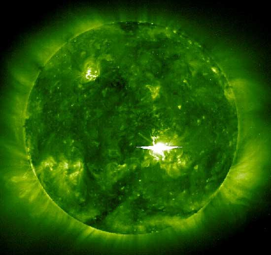 The SOHO satellite reveals the magnetic fields on the visible surface of the Sun, or photosphere, which lies beneath the corona