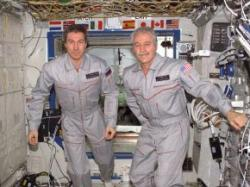 Krikalev (left) will be making his eighth spacewalk, Phillips his first