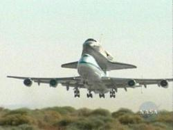 The space shuttle, atop NASA's specially modified 747 Shuttle Carrier Aircraft, will only fly by day and will make an overnight stop in Louisiana before riding home to Kennedy Space Center in Florida