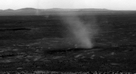 Spirit began seeing dust devil activity at the start of the Red Planet's spring – by midsummer they were common