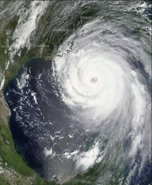NASA's Terra satellite imaged hurricane Katrina at 1300 EST on Sunday, August 28, as the giant storm approached the Gulf coast