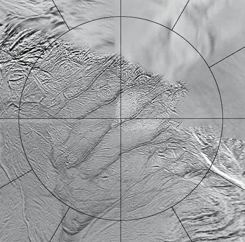 The four long fissures straddle the south pole of Enceladus and run for more than 100 kilometres - the circular grid marks 60° South