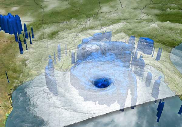 Areas of heavy rainfall under Hurricane Katrina were measured late on Sunday 28 August by the TRMM satellite and the GOES spacecraft