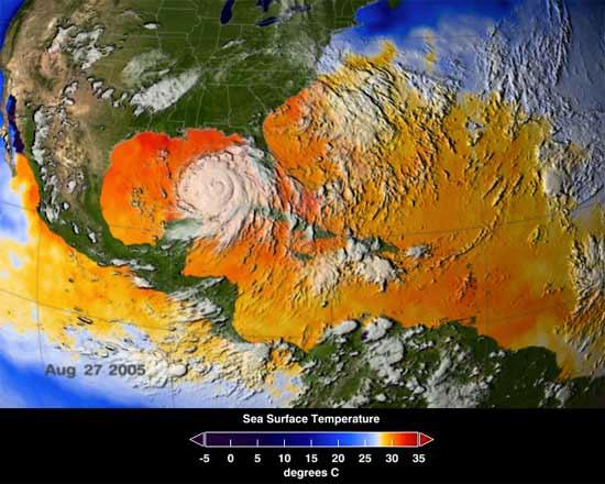 This image from the AMSR-E instrument on NASA's Aqua satellite shows the average sea surface temperatures from August 25 to 27. Areas in yellow, orange or red represents 28°C (82°F) or above – enough to enable a hurricane to strengthen