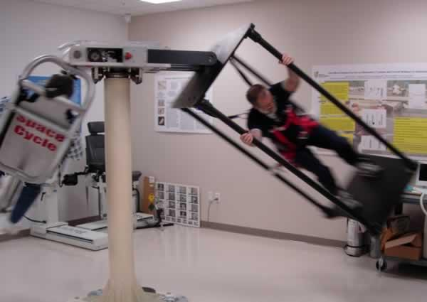 The human-powered centrifuge generates artificial gravity ranging from 1g (Earth gravity) to 5g – the speed of rotation determines the level of gravitational force
