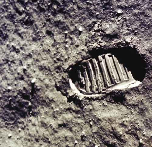 An astronaut's footprint in the lunar soil, left after the first Moon landing in 1969