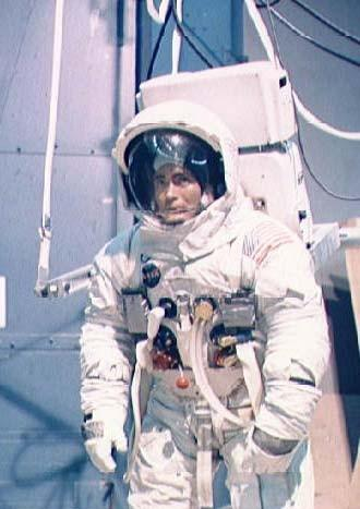 Astronaut Fred Haise, lunar module pilot of the Apollo 13 lunar landing mission, participates in lunar surface simulation training at the Manned Spacecraft Center in 1970