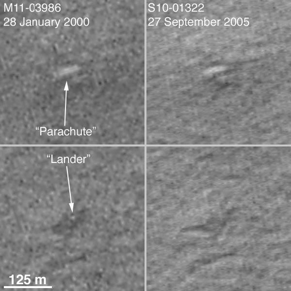 The tantalising dark dot thought to be the Mars Polar Lander in 2000 was nowhere to be seen in the new, improved photo