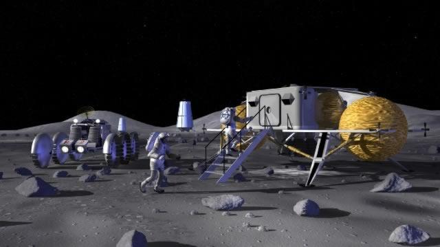 Future moon colonists could use a lunar mower (not pictured) to keep Moon dusty surfaces like these from damaging equipment (Artist's impression: NASA)
