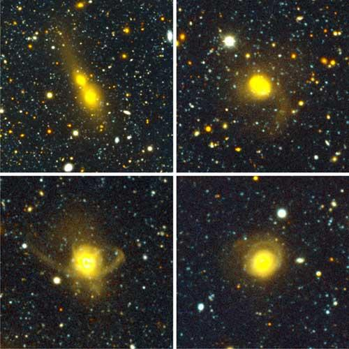 Observations of different pairs of galaxies show various stages of the merger process, from the galaxies' approach (upper left) to their union (lower right)