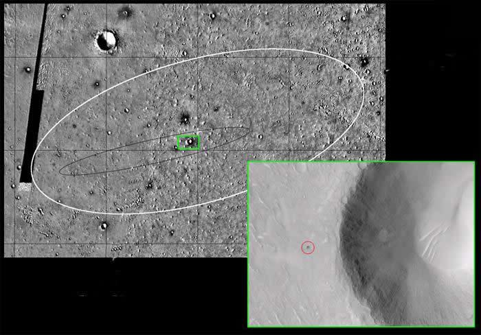 The candidate crater is marked (red) on the inset area, which is a detail of the region marked green on the main image. The white ellipse is the 140-km long targeted landing area