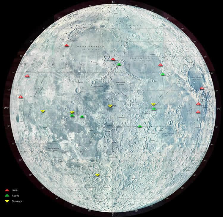This map shows the landing sites of the Surveyor (yellow), Apollo (green) and Luna (red) missions, all largely centred around the lunar equator (NASA Goddard Space Flight Center)