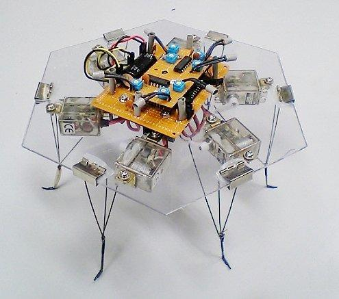 The six-legged hexapod robot is remotely-controlled by slime