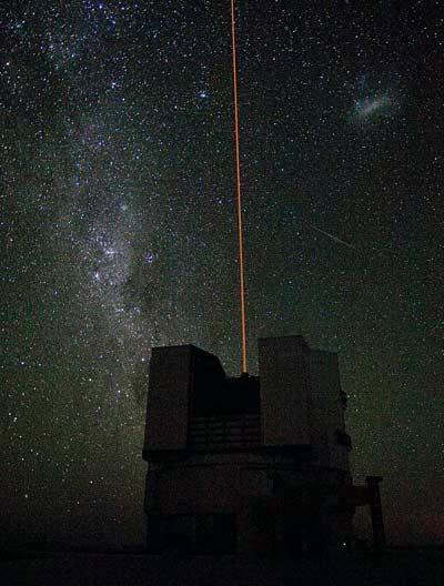 A 50-centimetre-wide laser beam shines out from one of the Very Large Telescope's four 8.2-metre mirrors