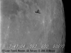 One of eight frames of the space station making its transit of the Moon