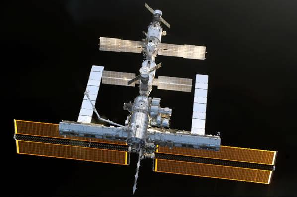 An astronaut onboard the space shuttle Discovery took this snap of the International Space Station after undocking on 6 August 2005