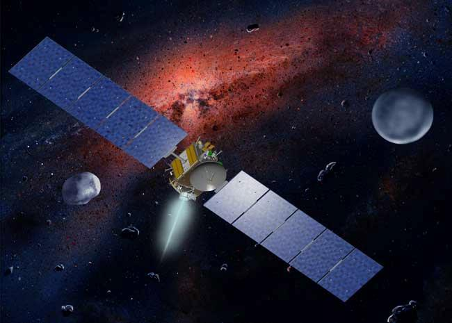 The mission would have studied the asteroids Ceres and Vesta, both relics from the early solar system (Artist's impression: W Hartmann/JPL/NASA)