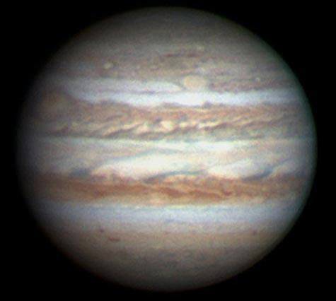 Jupiter's Great Red Spot – at 10 o'clock – has now been joined by a second – about 1 o'clock, halfway from the centre