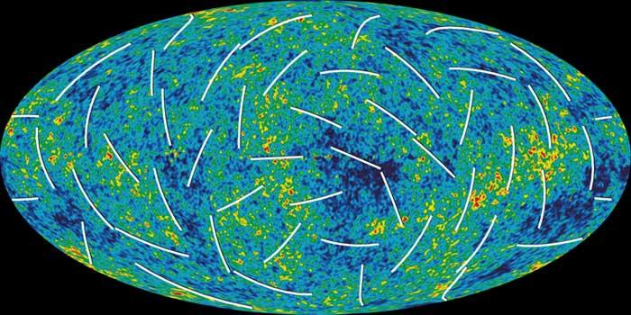 The white bars on this new, more detailed map of the infant universe show the polarisation direction of the oldest light, which provides clues about events in the first trillionth of a second of the universe