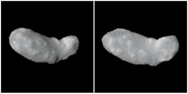Images of Itokawa taken on 10 September by Hayabusa, from a distance of about 30 km. Itokawa rotates about 50° between the left and right images