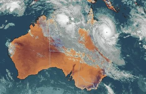 This image of Larry was captured on Sunday 19 March at 1730 AEST - it made landfall next morning