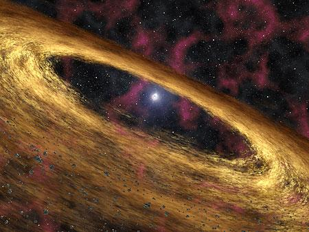 MIT researchers using the Spitzer Space Telescope have detected the first debris disc around a spinning, extremely dense dead star, 13,000 light years from Earth (Illustration: NASA/JPL-Caltech/R Hurt)