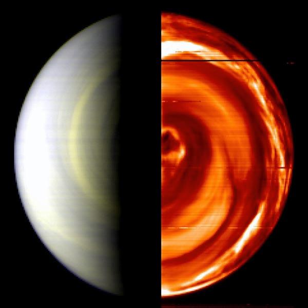 This false-colour VIRTIS composite image shows Venus's day side on the left and night side on the right, with a scale of 50 km per pixel