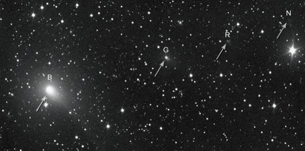 A ground-based 10-inch telescope imaged fragments B and G, R, and N of Comet 73P on 8 April 2006