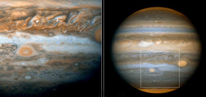 Red Spot Junior (centre-left of left image) will pass the Great Red Spot (shown in larger image right) in early July 2006