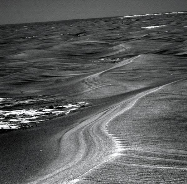 The rover was traversing dunes of soil on Meridiani Planum when it got trapped on 29 May