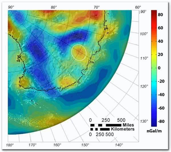 Gravity data from the GRACE satellites (denser regions in red) show the location of the Wilkes Land crater (above centre)