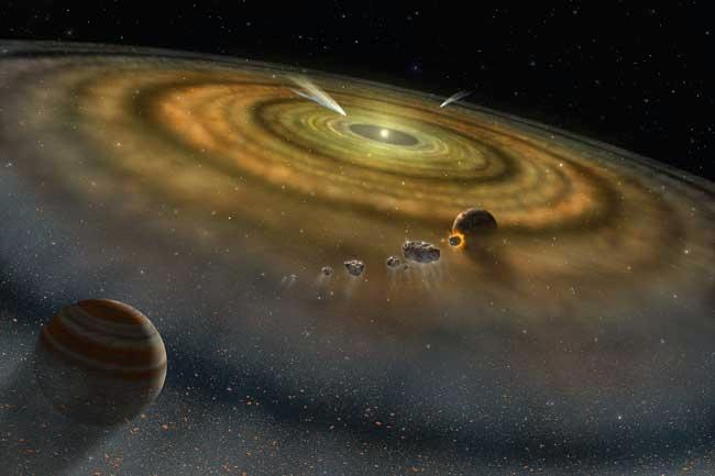 A disc of dust and gas is generated by the collisions of asteroids and comets around the star Beta Pictoris