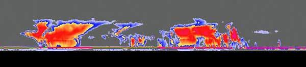 Tall thunderstorm clouds over east Africa