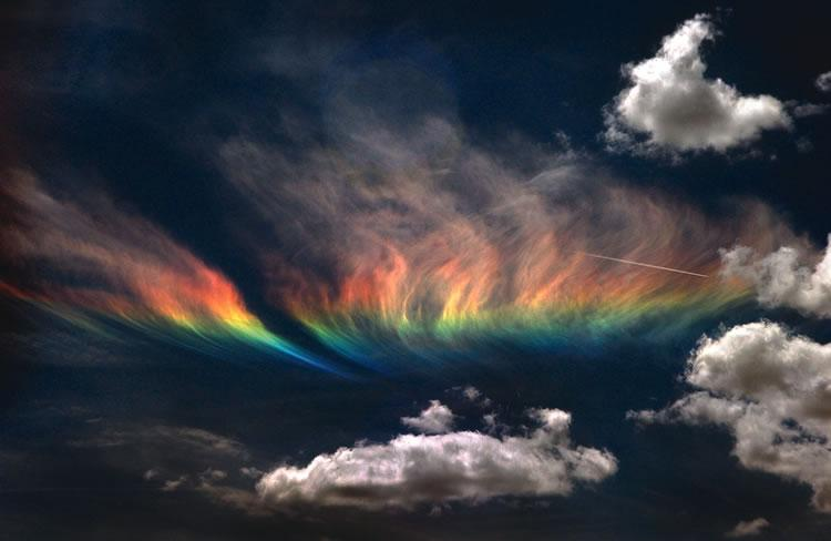 A rare rainbow, called a circumhorizontal arc, presents itself to the skies of Idaho