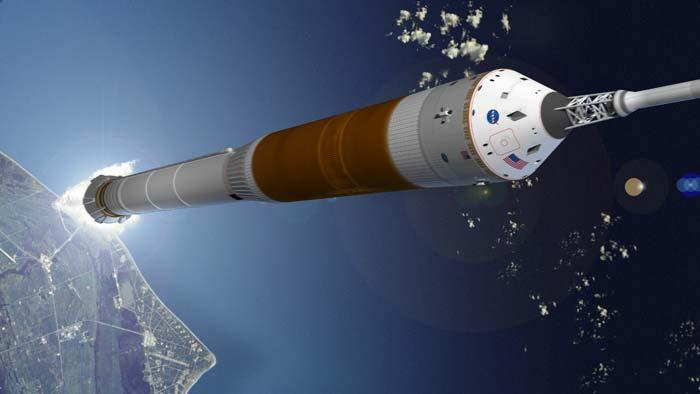 The CEV will launch atop a single Ares I solid rocket booster