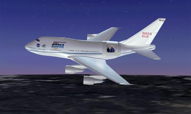 SOFIA will scan the heavens from the side of a Boeing 747 aircraft flying at an altitude of 13 kilometres (Illustration: NASA)