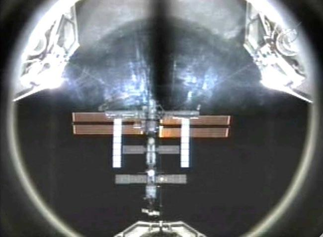 The shuttle captured this image of the space station ahead of the docking