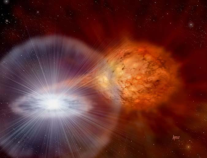 The material collected from the red giant leads to a nuclear explosion on the surface of its companion, a white dwarf star (Artist's impression: David A Hardy/PPARC)