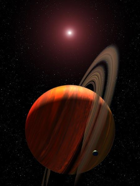 A 2.6 Jupiter mass planet orbits a red dwarf star 19,000 light years from Earth (Artist's impression: NASA/ESA/STScI/G Bacon)