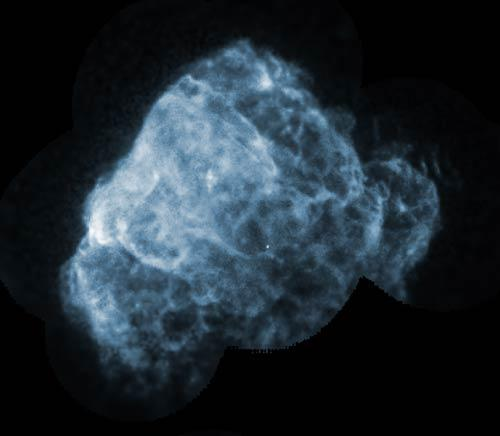 The bright, point-like neutron star seen near the centre of the Puppis A supernova remnant in this ROSAT X-ray image is moving at 1500 kilometres per second