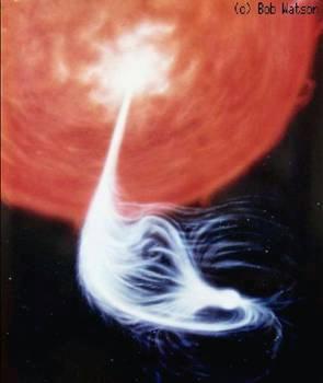 A white dwarf's magnetic field funnels stolen matter onto its poles, creating a pair of bright spots (Illustration: Bob Watson/SALT)
