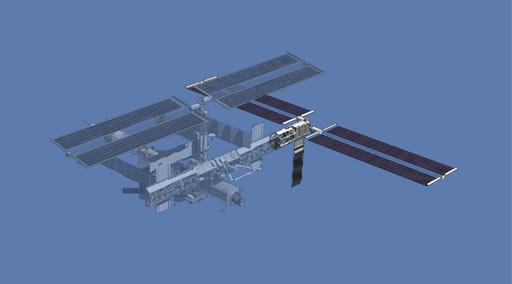 Atlantis will carry up the massive P3/P4 truss segment (silver section at right) and a second pair of solar arrays (darkened) that will span 73 m (Illustration: NASA)