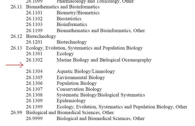 Why has Evolutionary Biology disappeared from the Department of Education's list? (arrow added)